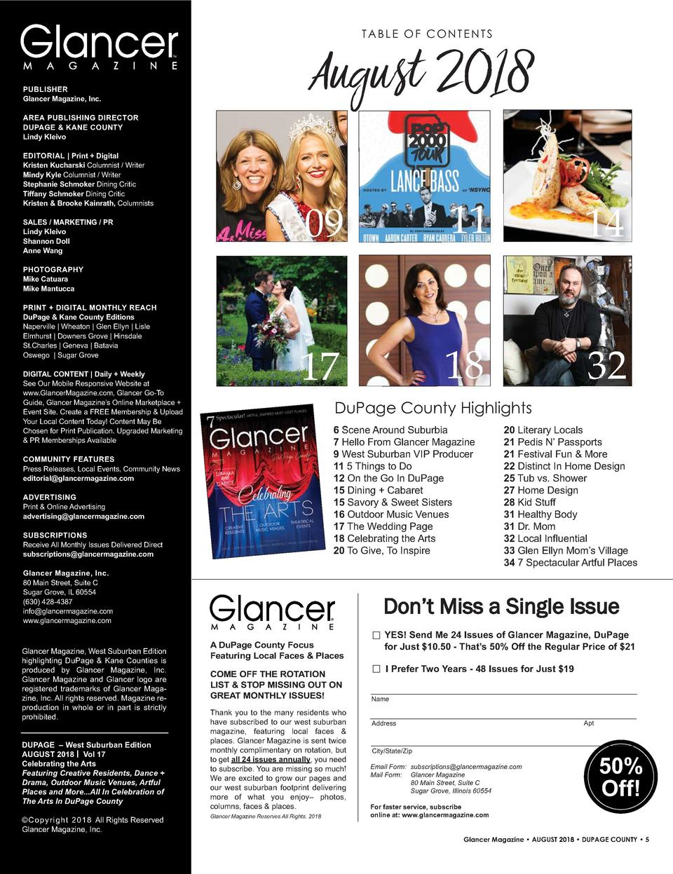 TABLE OF CONTENTS TM  PUBLISHER Glancer Magazine, Inc.  August 2018  AREA   PUBLISHING   DIRECTOR DUPAGE     KANE   COUNTY...