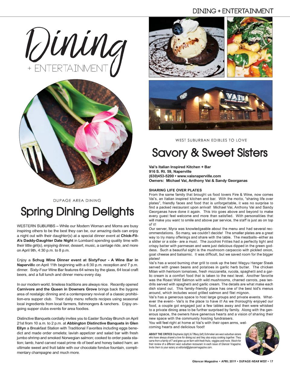 Dining  DINING   ENTERTAINMENT    ENTERTAINMENT  W E S T S U B U R B A N E D I B LE S T O LO VE  Savory   Sweet Sisters Va...