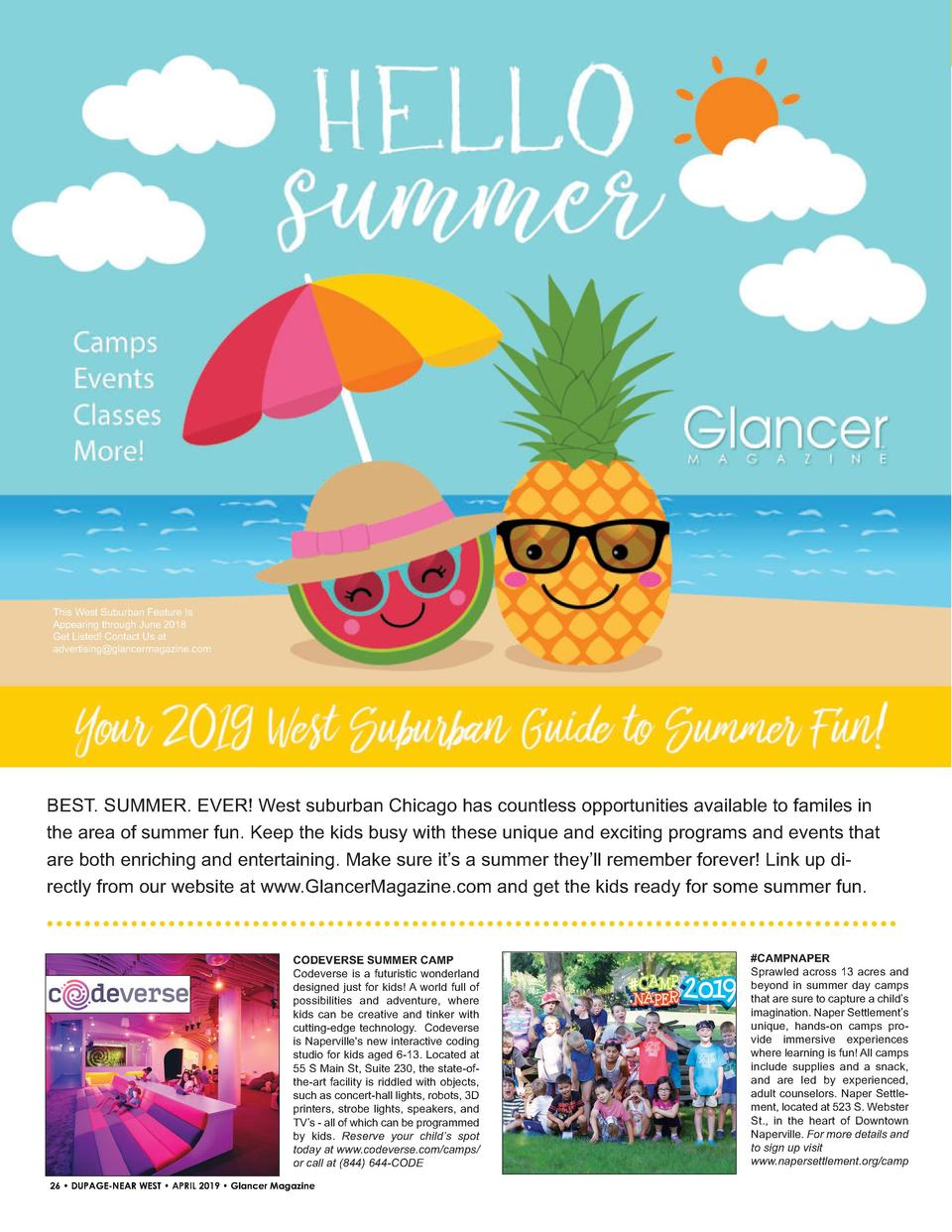 This West Suburban Feature Is Appearing through June 2018 Get Listed  Contact Us at advertising glancermagazine.com  BEST....