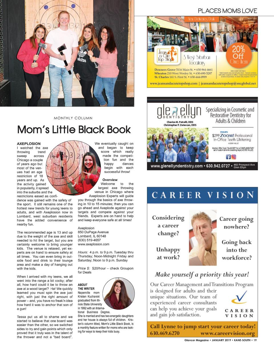 PLACES MOMS LOVE  MO N T H L Y C O L UMN  Mom   s Little Black Book AXEPLOSION I watched the axe throwing trend sweep acro...