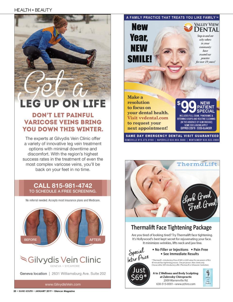 HEALTH   BEAUTY  20     KANE-SOUTH     JANUARY 2019     Glancer Magazine